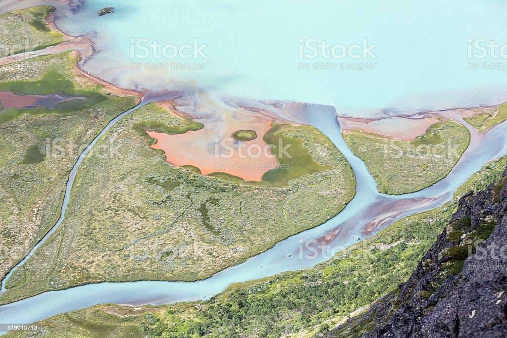 Swamp seen from Knutsho mountain (Jotunheimen National Park, Nor stock photo