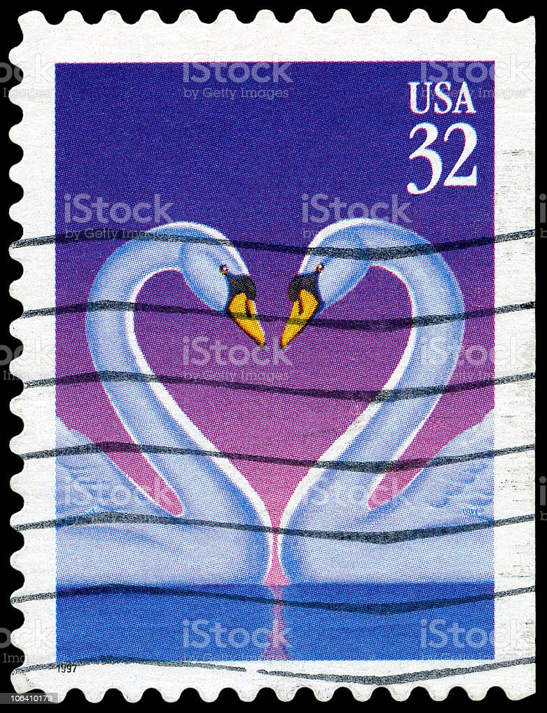 Swan Love Heart stamp royalty-free stock photo