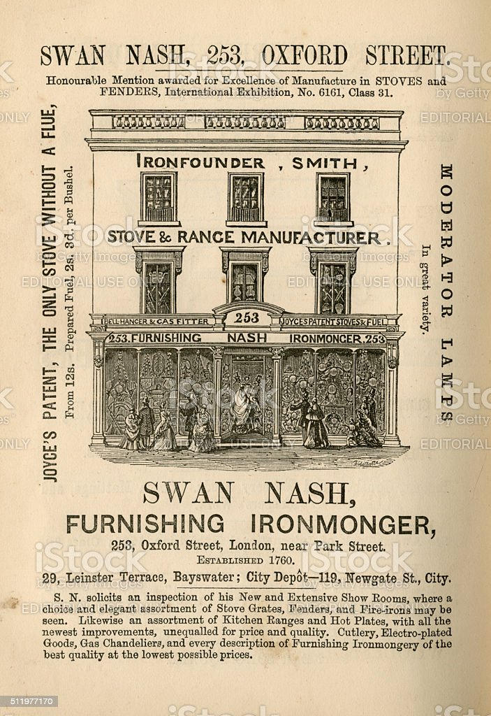 Swan Nash, Furnishing Ironmonger - advertisement, 1865 stock photo