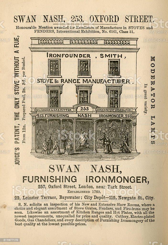 Swan Nash, Furnishing Ironmonger - advertisement, 1865 stock photo