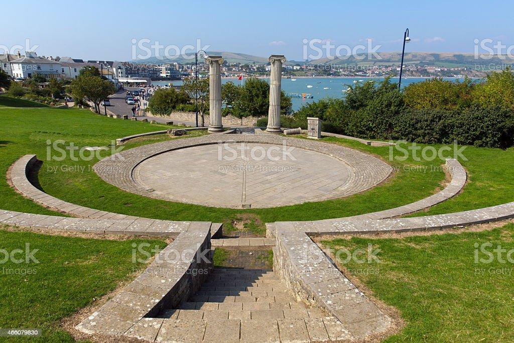 Swanage Dorset UK Prince Albert Gardens with amphitheatre and park stock photo