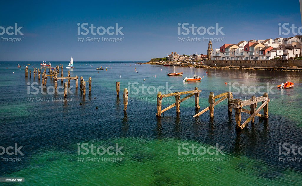 Swanage Pier and Bay in Summer stock photo
