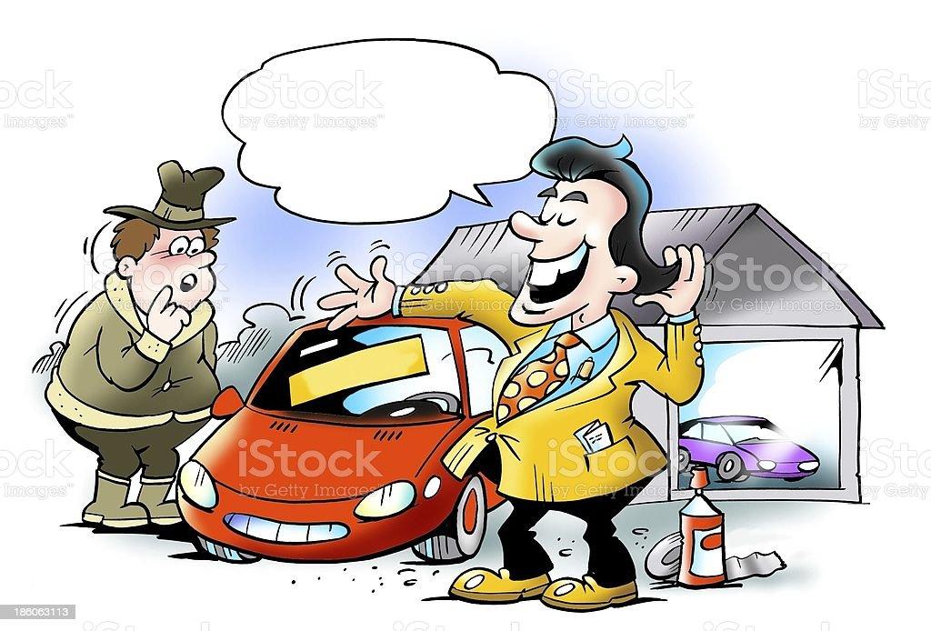 Swank car seller cheating customers royalty-free stock photo