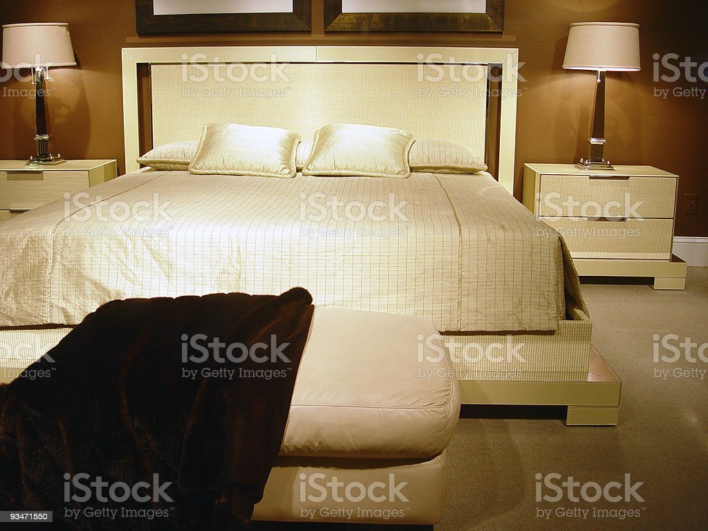 Swanky modern bedroom stock photo