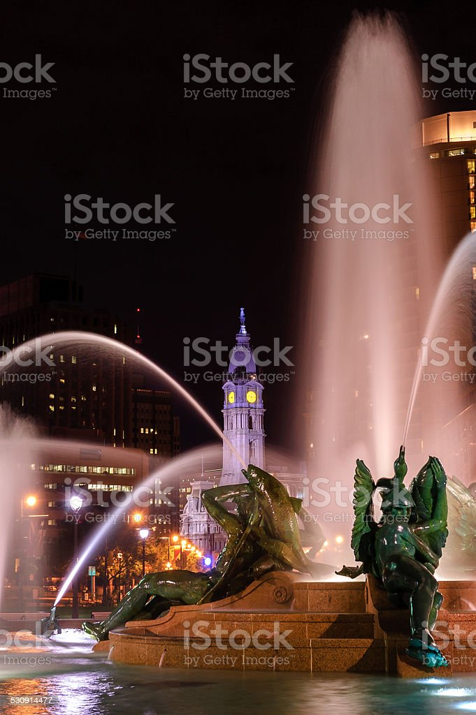 Swann Memorial Fountain at night stock photo