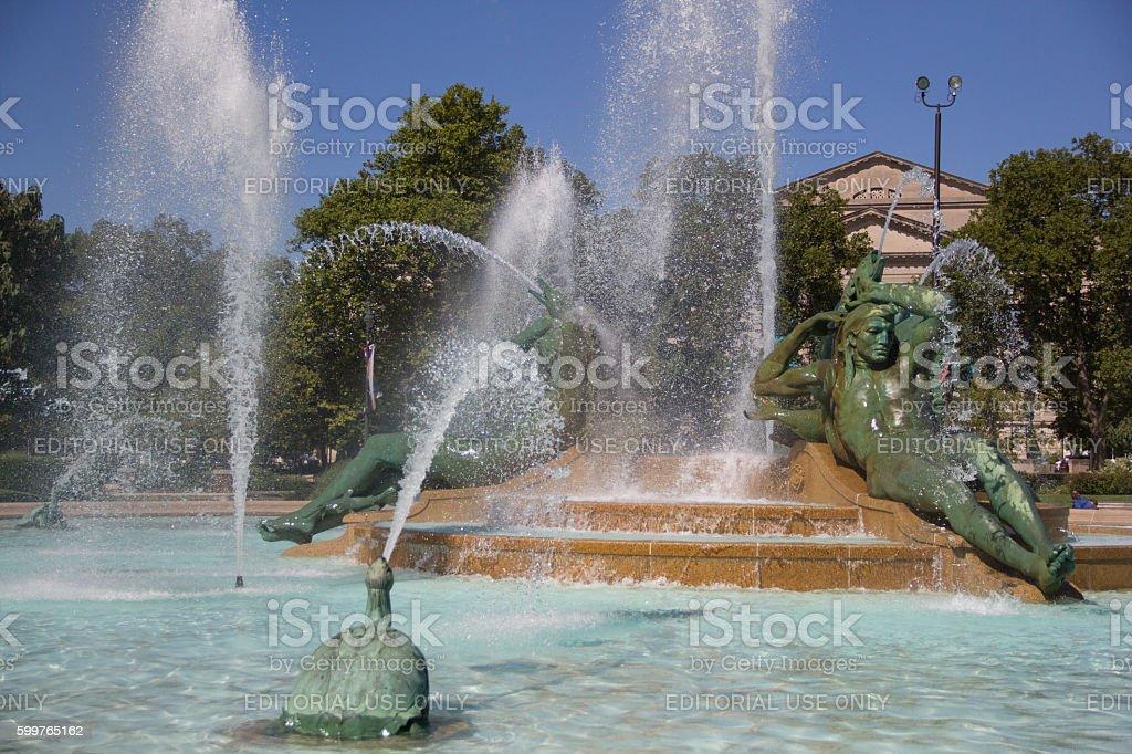 Swann Memorial Fountain in Logan Square, Philadelphia stock photo