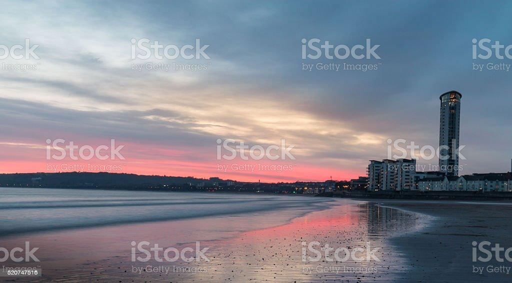 Swansea Bay Sunset stock photo