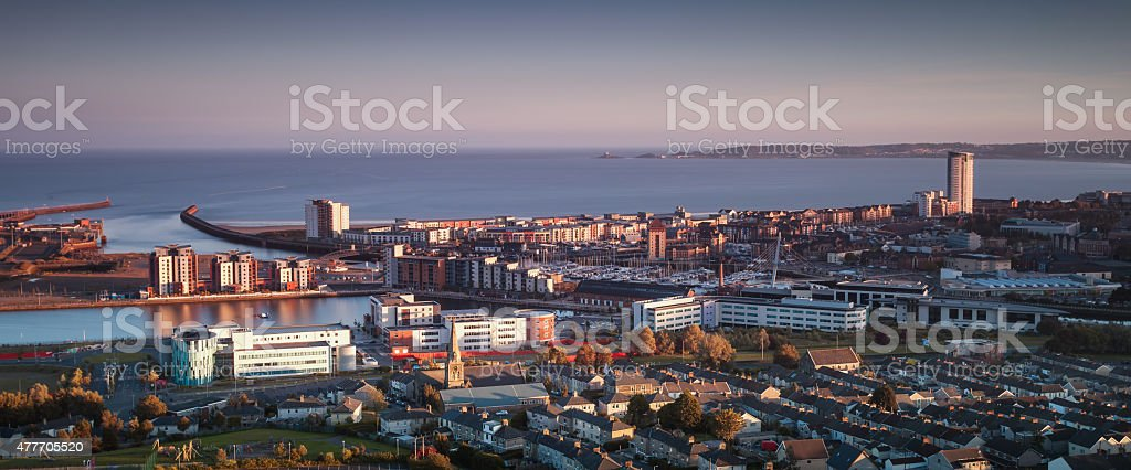 Swansea city south Wales stock photo