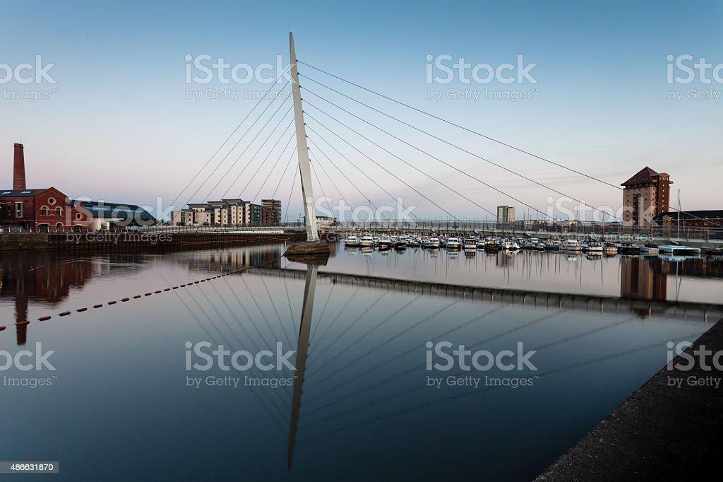 Swansea marina and millennium bridge stock photo