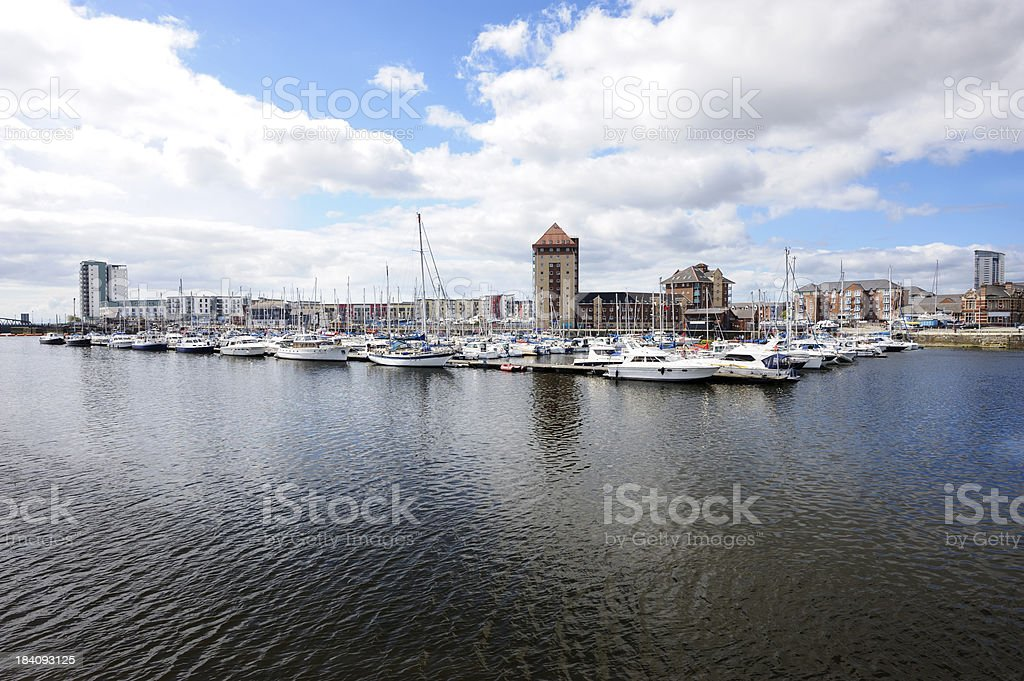 Swansea Marina in the UK on a cloudy day stock photo