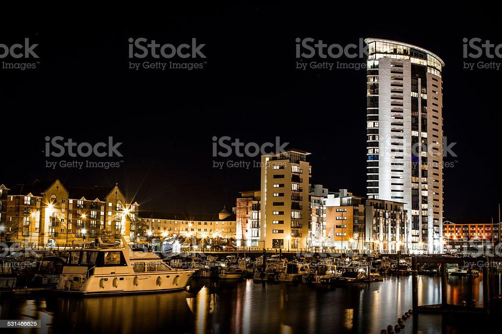 Swansea Meridian Tower at Night stock photo