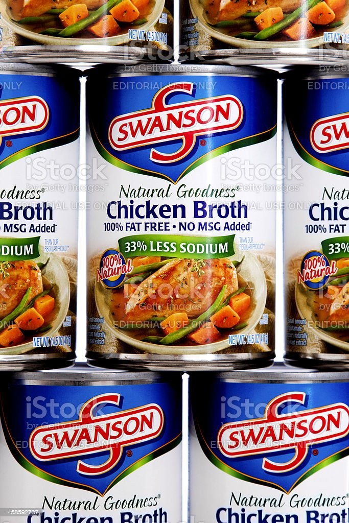 Swanson Chicken Broth Can Pyramid royalty-free stock photo