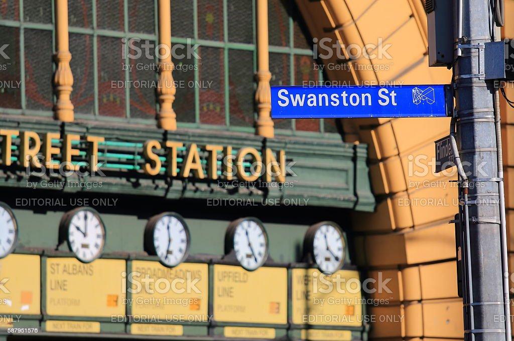 Swanston Street Melbourne Australia stock photo