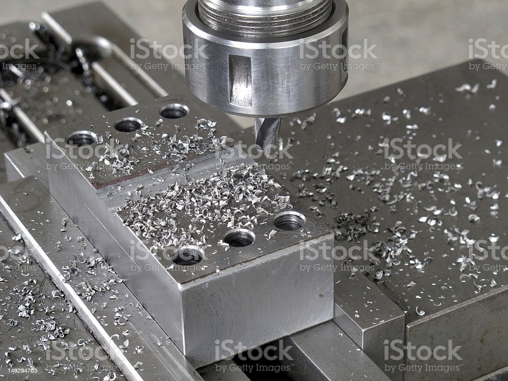 Swarf and Holes on The Metal Mould stock photo