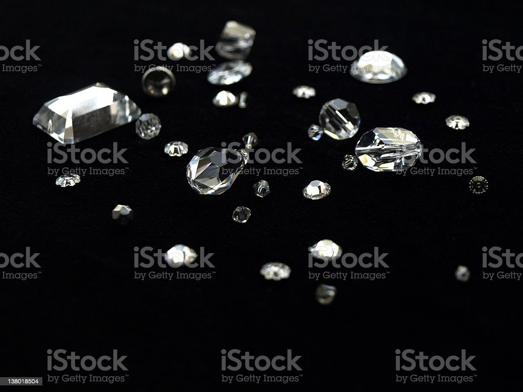 AMAZING swarovski CRYSTALS on black velvet stock photo