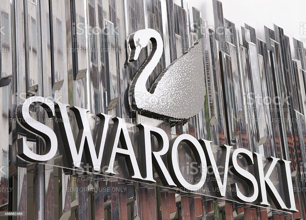 Swarovski sign above shop entrance stock photo