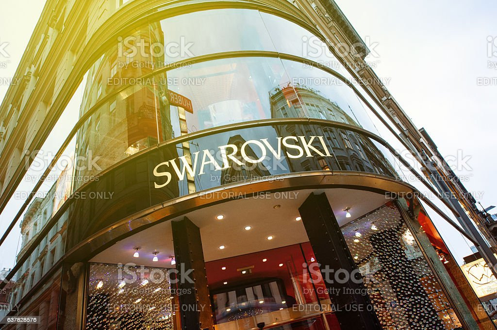 Swarovsky store logo on a shopping street in Vienna stock photo