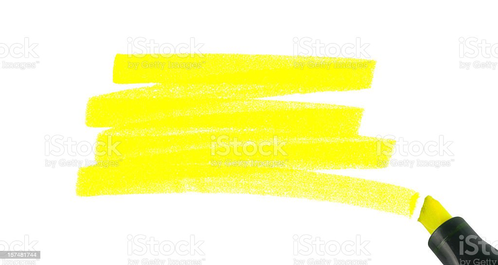 Swash of a highlighter pen, isolated on white. stock photo