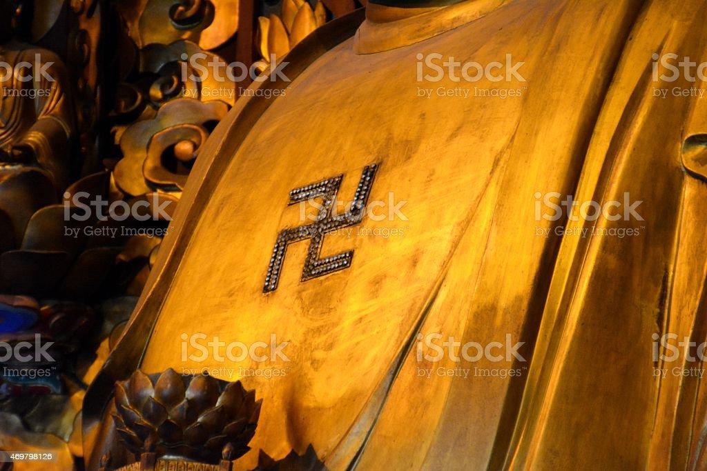 Swastika on Golden Buddha at Longhua temple, Shanghai stock photo