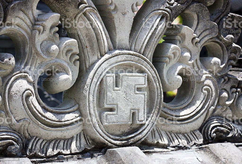 Swastika symbol at Temple stock photo