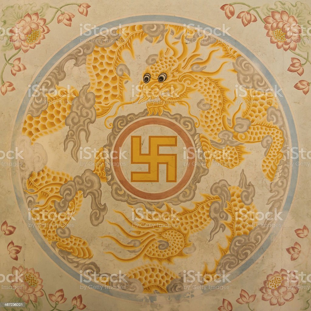 Swastika symbol on top of a temple stock photo