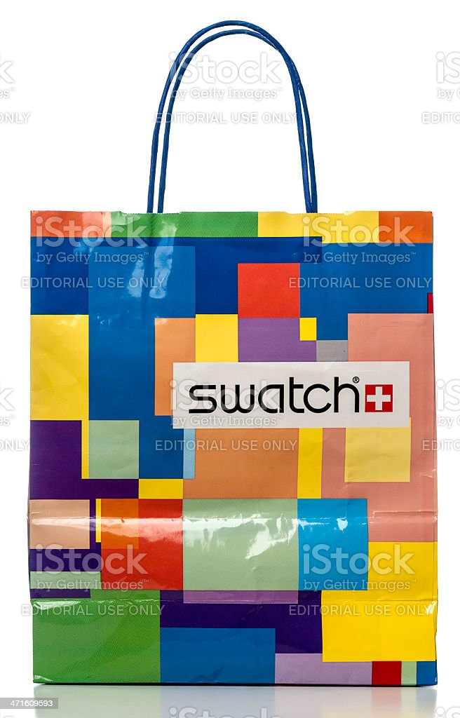 Swatch colorful paper shopping bag royalty-free stock photo