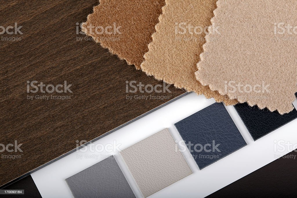 Swatches of color and fabric materials for interior design royalty-free stock photo
