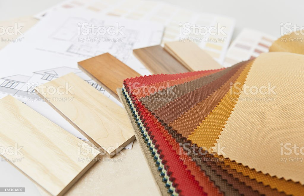 Swatches of fabric samples and wood finishes for interiors stock photo