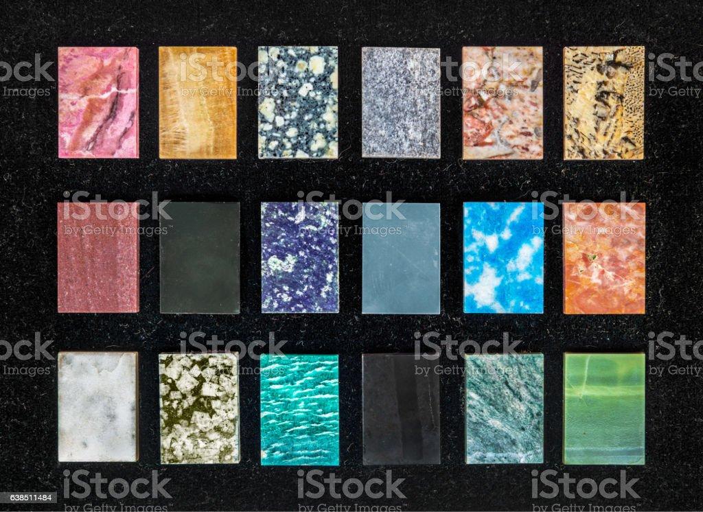 swatches of gemstones stock photo