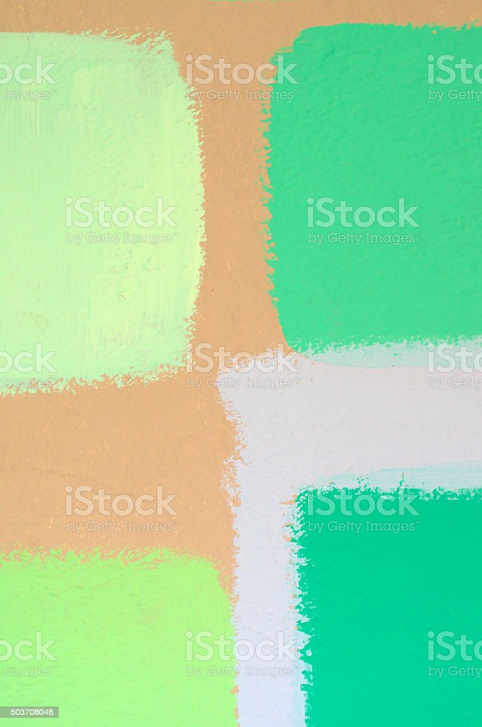 swatches of green paint on wall stock photo