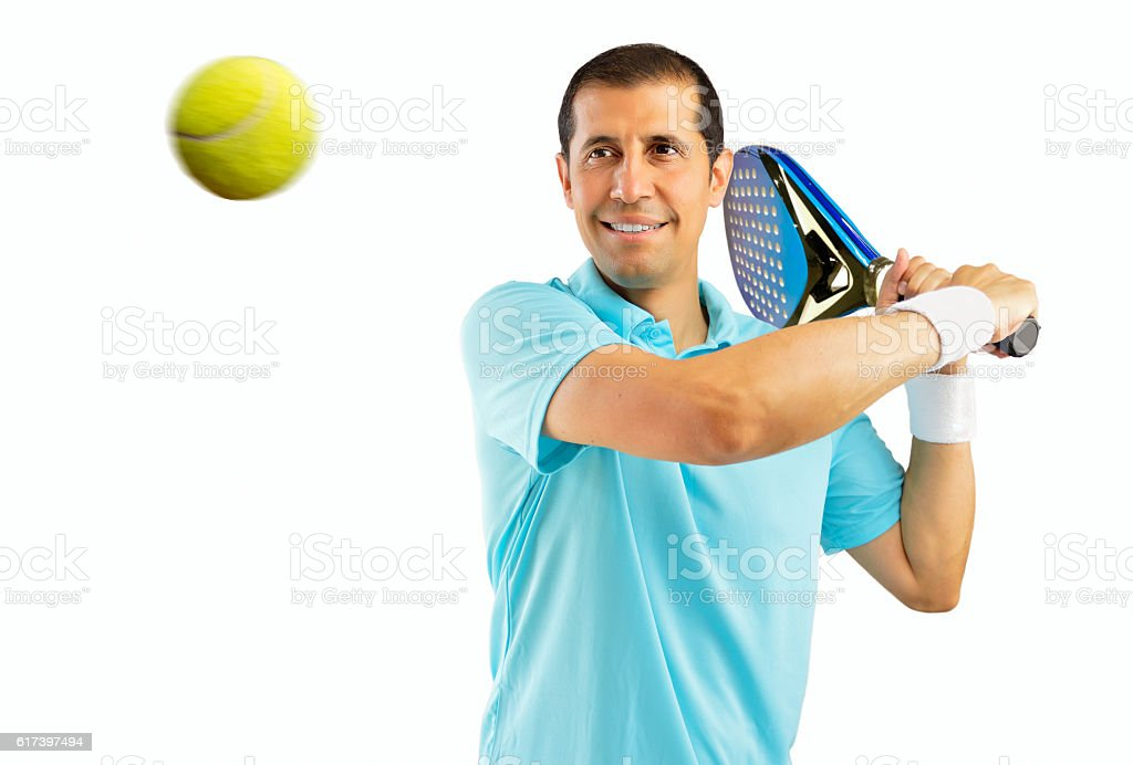swatting the ball stock photo