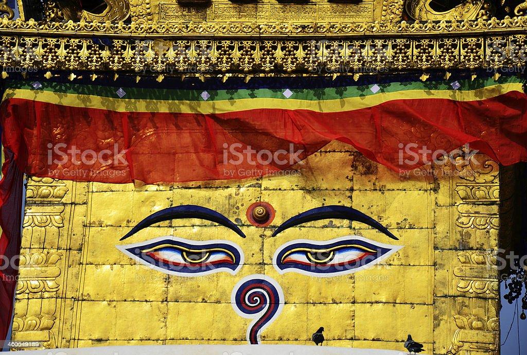 Swayambhunath and Boudhanath with Wisdom Eyes at Kathmandu Nepal royalty-free stock photo