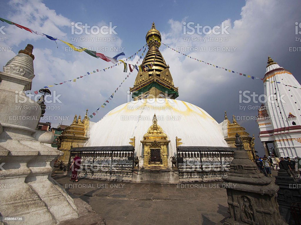 Swayambhunath Stupa, Also Known as Monkey Temple in Kathmandu, Nepal royalty-free stock photo
