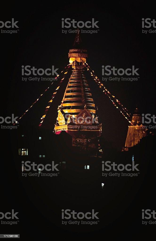 Swayambhunath Stupa (Monkey Temple), Kathmandu, Nepal - night shoot stock photo