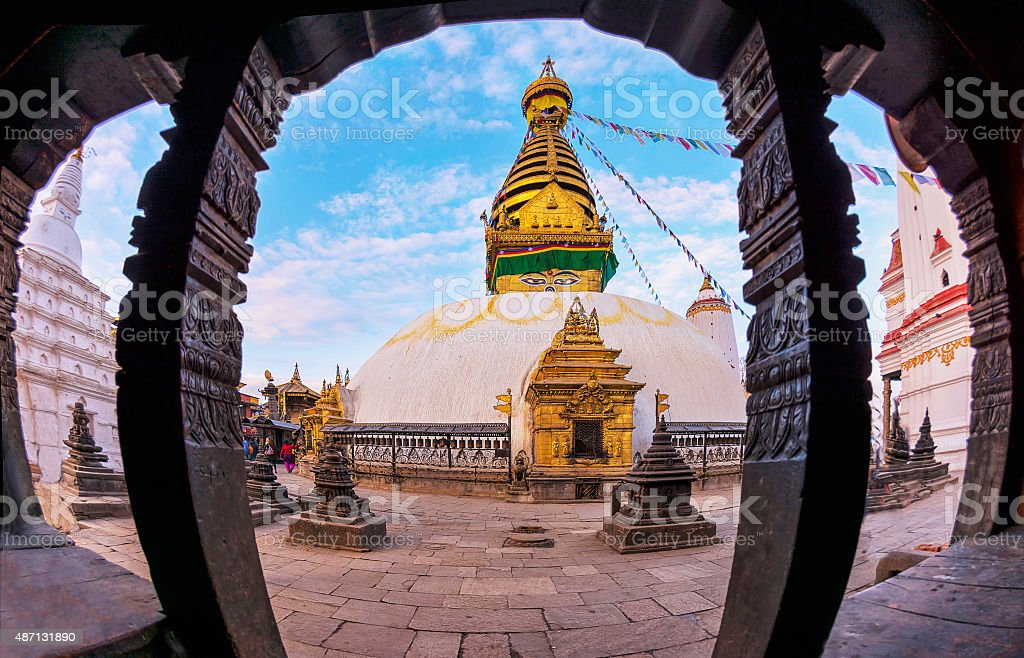 Swayambhunath Stupa Nepal, Kathmandu with fisheye lens stock photo