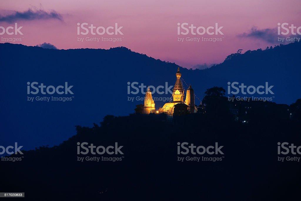 Swayambhunath stupa on sunset  , Kathmandu, Nepal stock photo