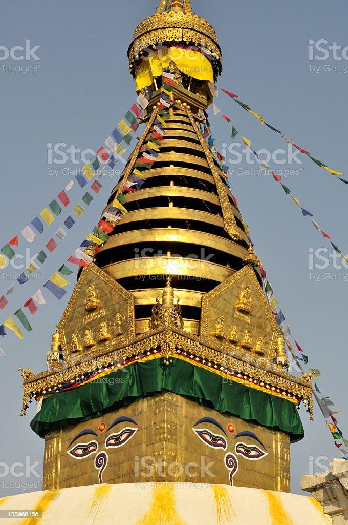 Swayambhunath Stupa pinnacle royalty-free stock photo