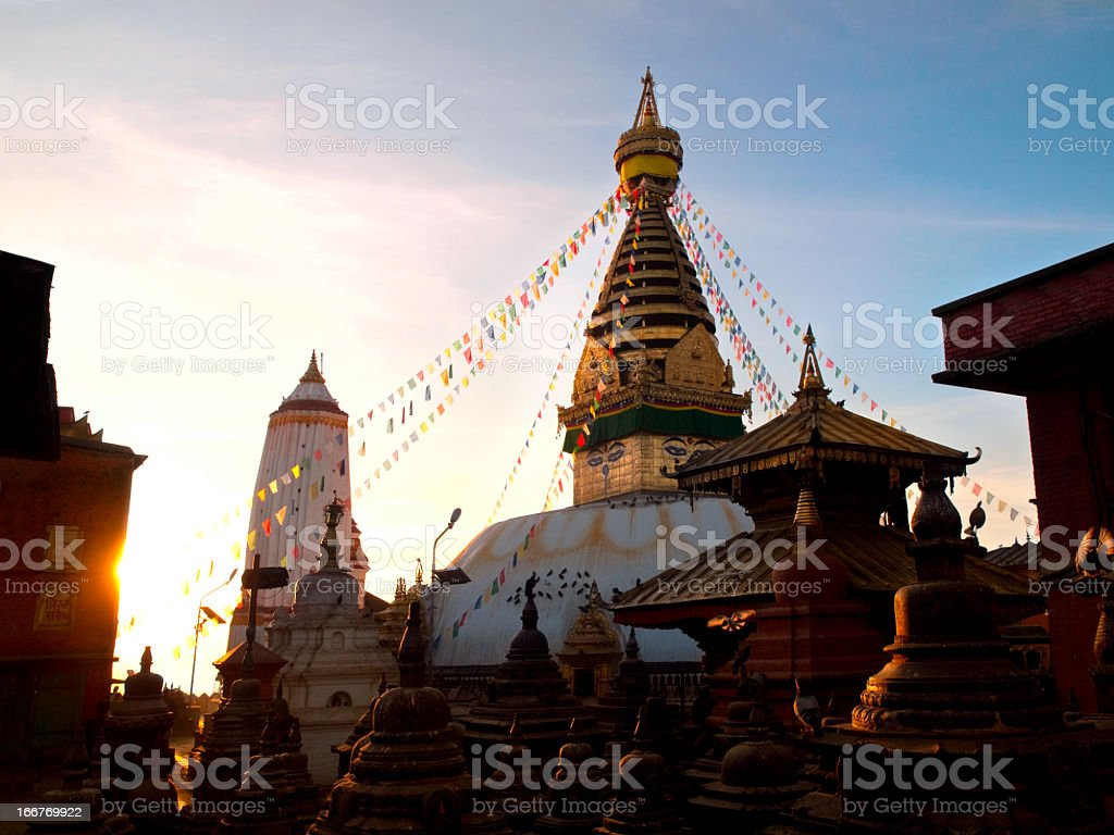 Swayambhunath Stupa. Sunrise. royalty-free stock photo
