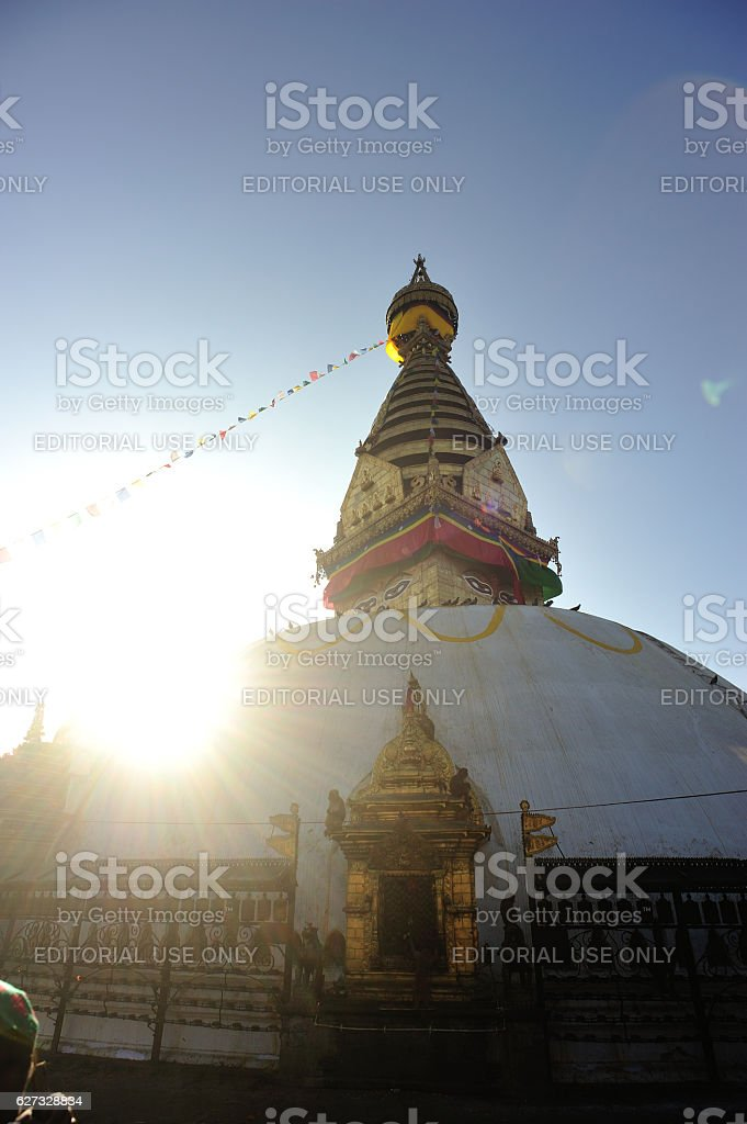 swayambhunath temple in nepal stock photo