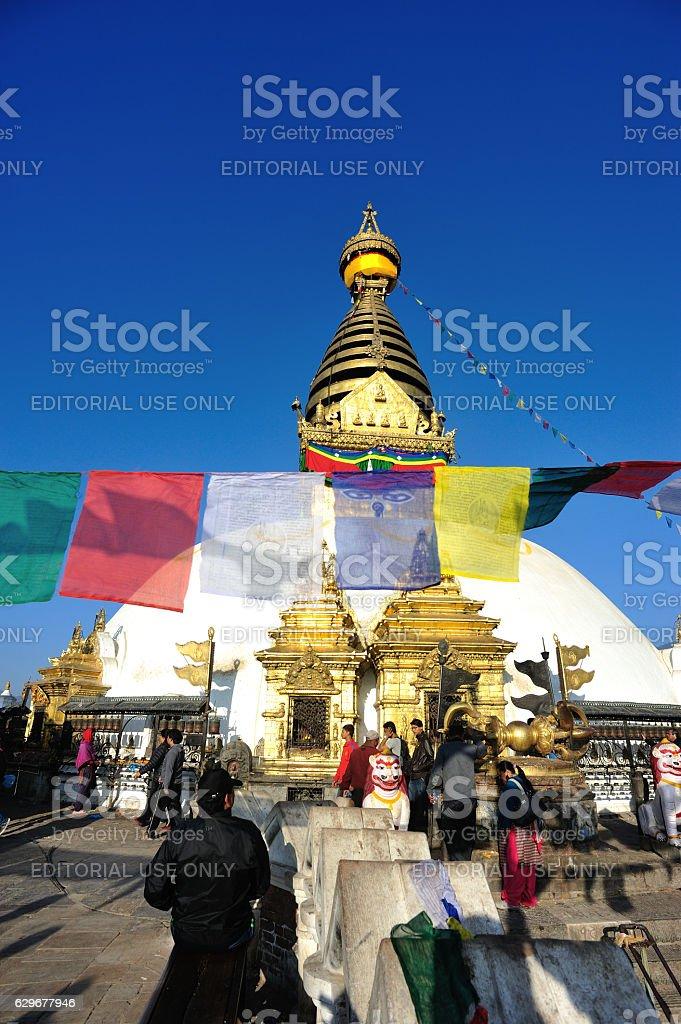 swayambhunath temple in nepal stock photo