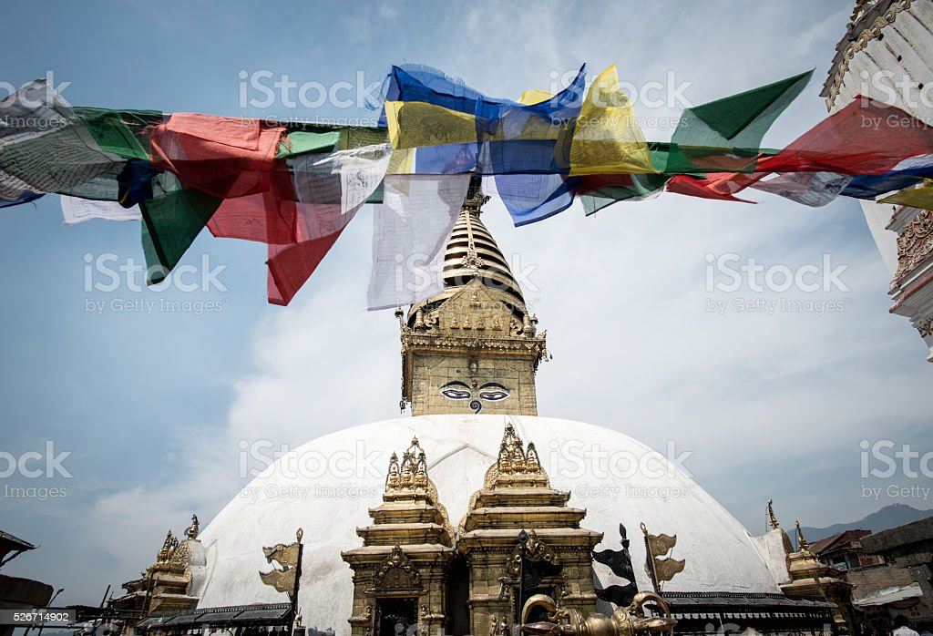 Swayambhunath the ancient stupa in Kathmandu, Nepal stock photo