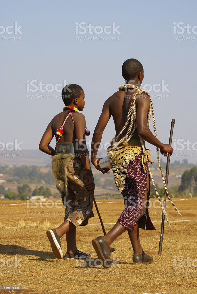 Swazi boys in traditional costumes during Reed Dance 2007 stock photo