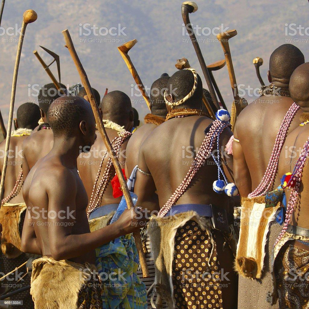 Swazi headmen during Reed Dance stock photo