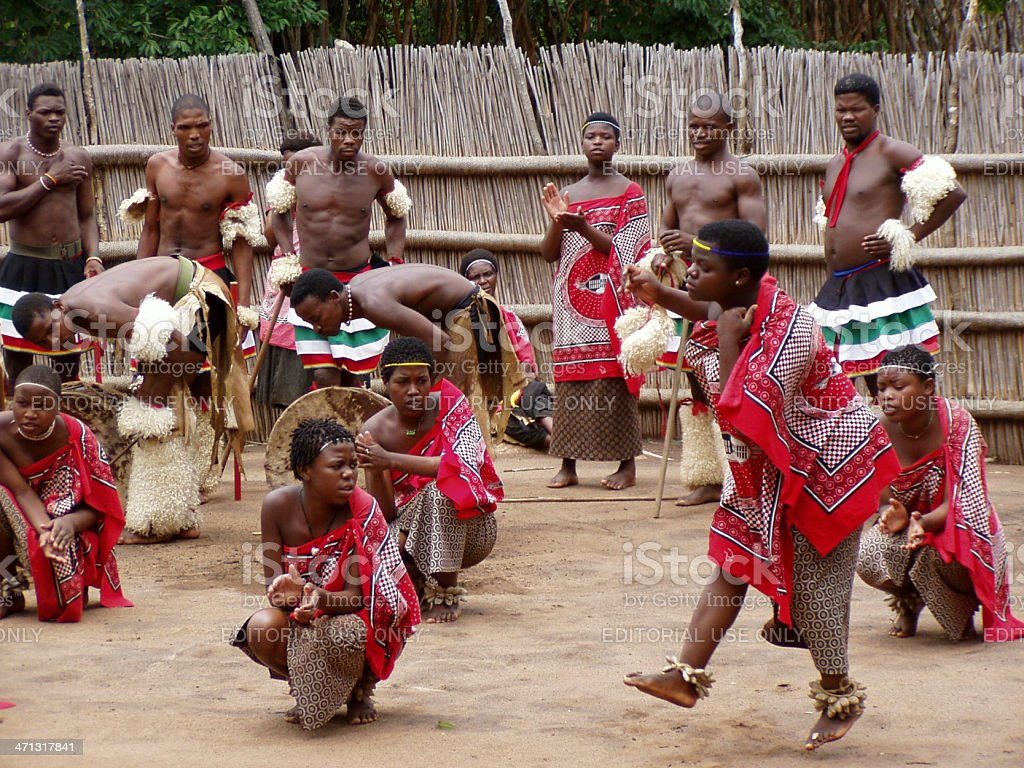 Swazi people performing traditional tribal dance stock photo
