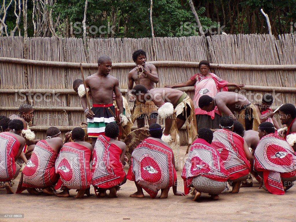 Swazi people performing tribal dance stock photo