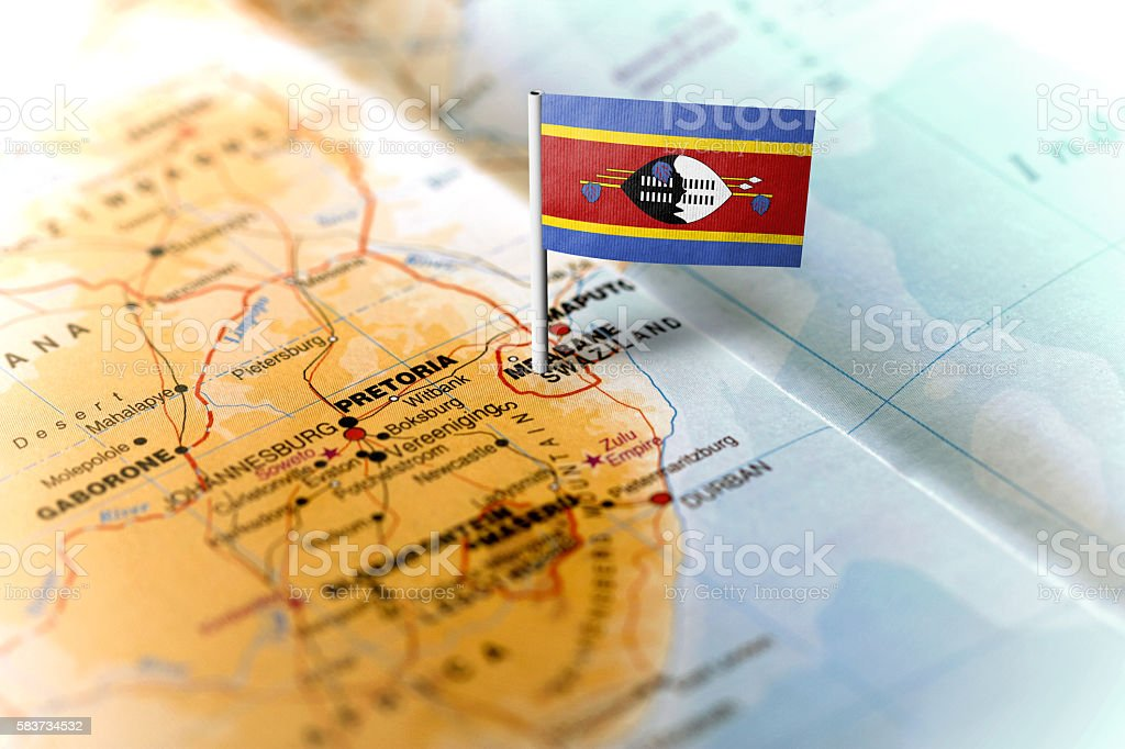 Swaziland pinned on the map with flag stock photo