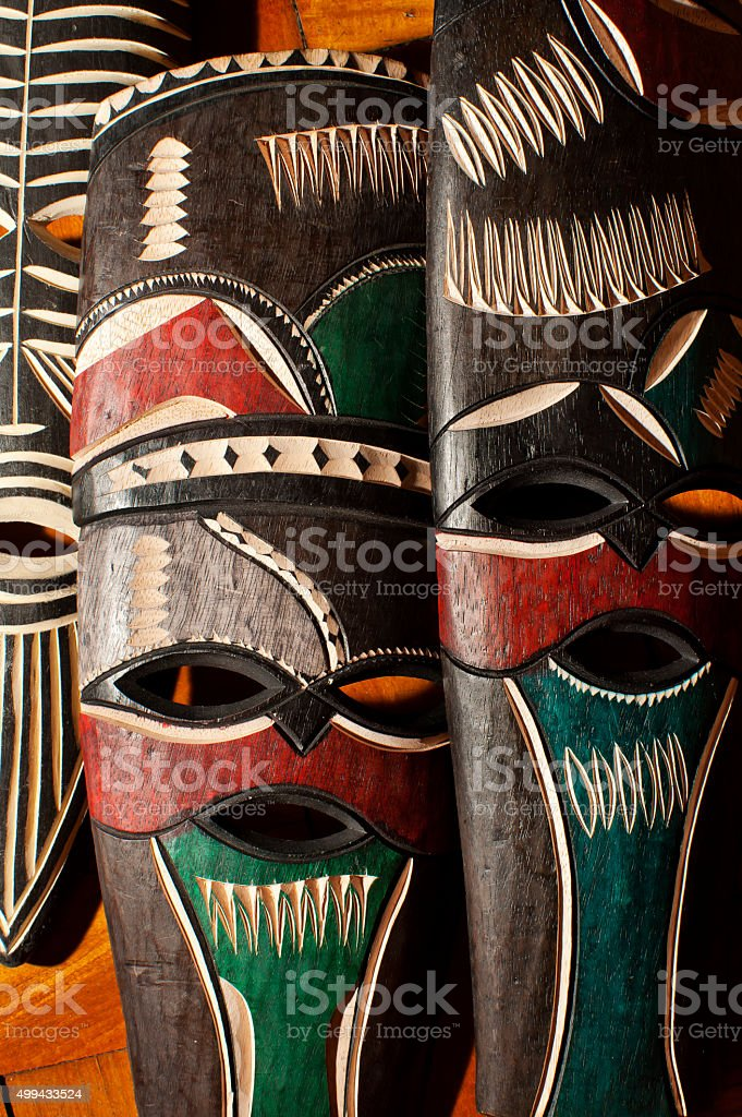 Swaziland traditional colorfull carved masks stock photo