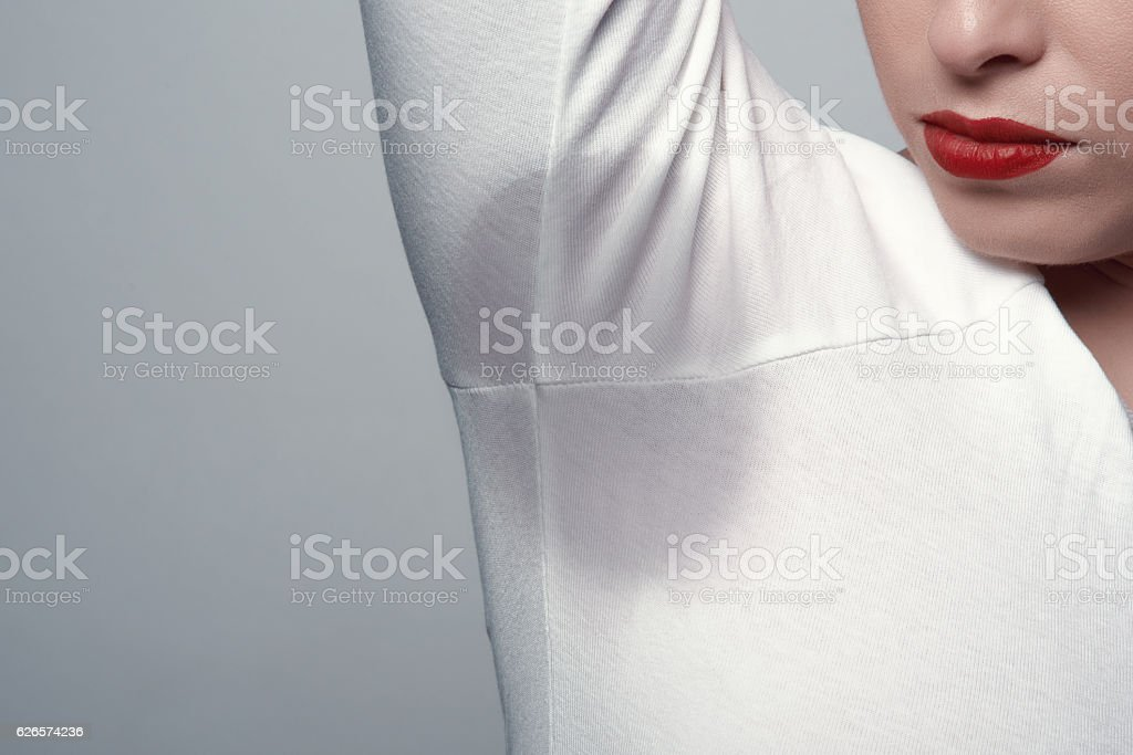 sweat mark at armpits stock photo