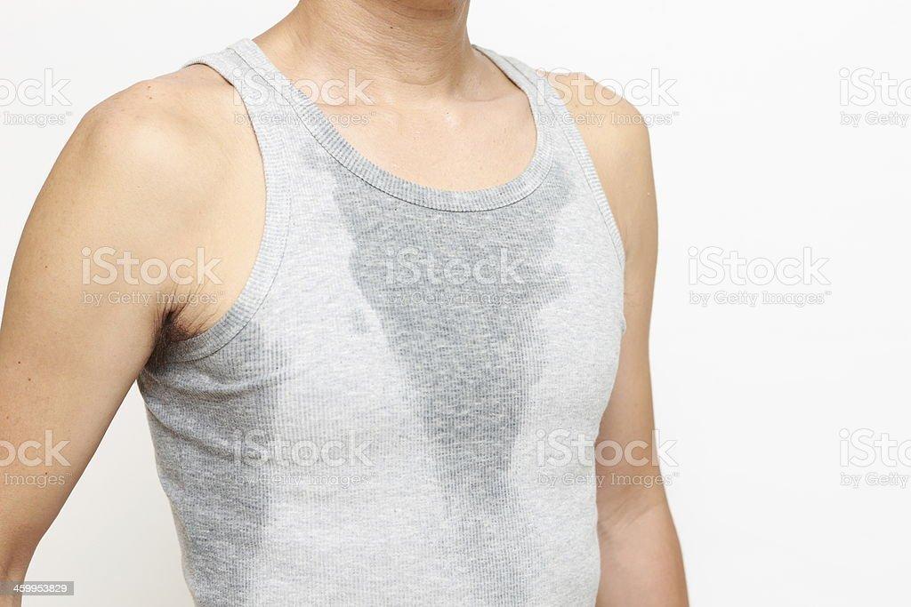 sweated man stock photo