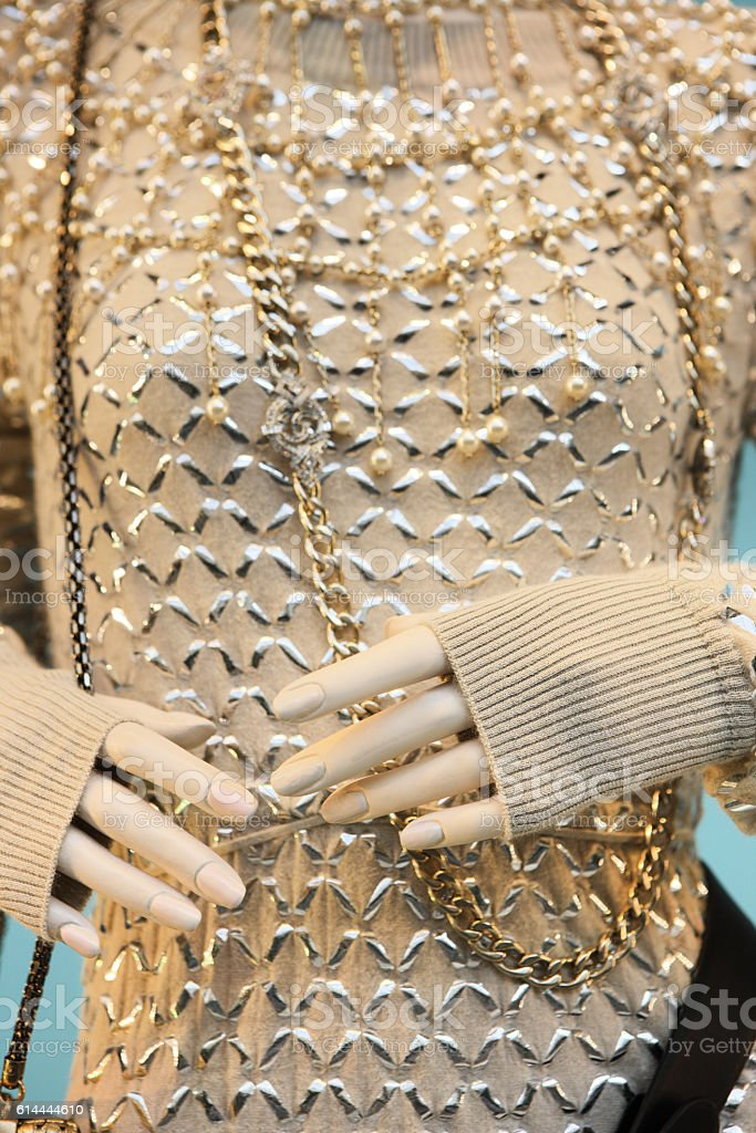 Sweater Jewelry Fashion Mannequin Hands stock photo